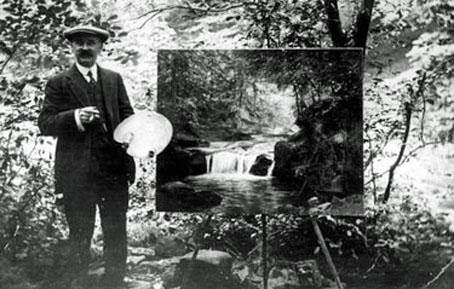 A photograph from the 'Picture Sheffield' collection dated 1912 shows Robert Scott Temple painting in Rivelin.