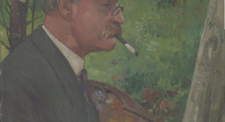 Portrait of Robert Scott Temple RSA, painting in Rivelin, by W R E Goodrich
