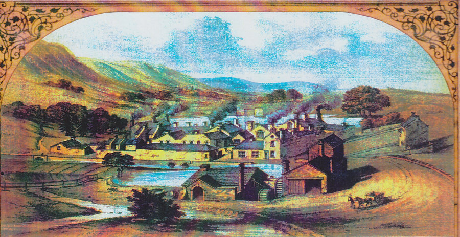 Artist's impression of Grogram Wheel and mill dam (foreground) with Mousehole Forge behind, in the early 19th century. Courtesy J. Hatfield & R. Postman.