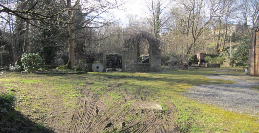 View of ruined buildings at Mousehole Forge, now designated as a Scheduled Ancient Monument. [Photo: Sue Shaw, March 2015]