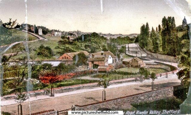 View across Rivelin Valley Road towards Spooners Wheel (centre-left), in the early 20th century. Sheffield City Council, Libraries Archives