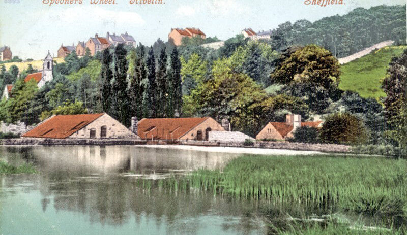 Spooners Wheel and mill dam (undated). St. Michael's Mortuary Chapel, Rivelin Glen Cemetery is behind, to the left. Sheffield City Council, Libraries Archives