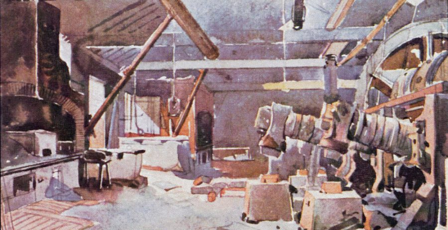 Interior of Walkley Bank Tilt, showing the tilt hammers. Watercolour by Godfrey Sykes (1824–1866). Courtesy of Museums Sheffield.