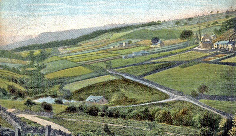 View of Rivelin valley in about 1900, looking south-west, prior to construction of Rivelin Valley Road. Hind Wheel building and mill dam are in the foreground; Rivelin Hotel can be seen top right. Sheffield City Council, Libraries Archives
