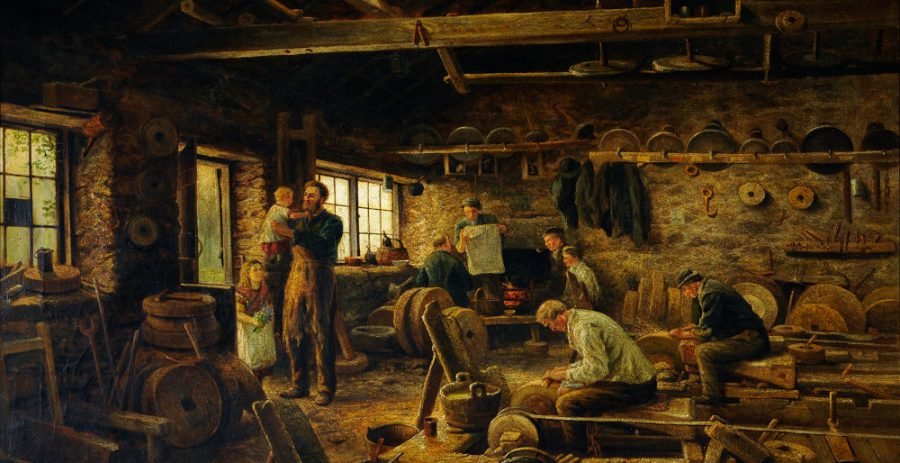 Interior of Holme Head Wheel, Rivelin Valley, Sheffield. Painting by Joseph Wrightson MacIntyre; oil on canvas, 1879. Courtesy of Museums Sheffield. This painting gives an excellent insight into working conditions in a grinding workshop in the mid-19th century.