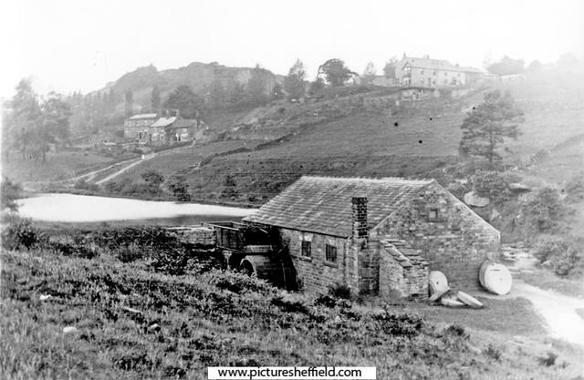 Nether Cut Wheel (New Wheel), Rivelin Valley. Rivelin Cottages and Rivelin Glen United Methodist Church on hill, in background. Sheffield City Council, Libraries Archives
