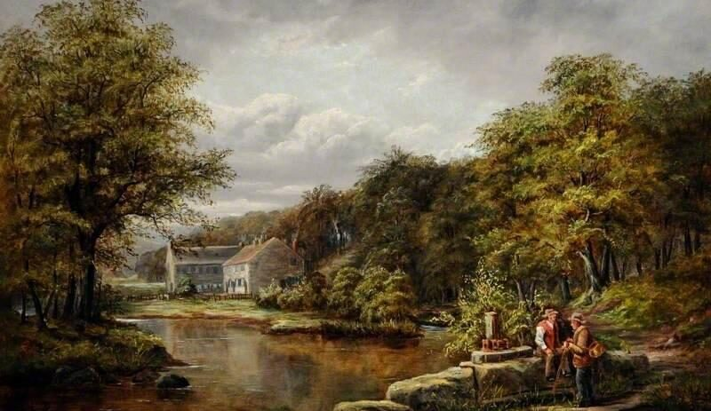 New Dam inlet and shuttle, with Roscoe Wheel and cottages behind. Painting by G. Hattersley Pearson (1858–1937). Rotherham Heritage Services.