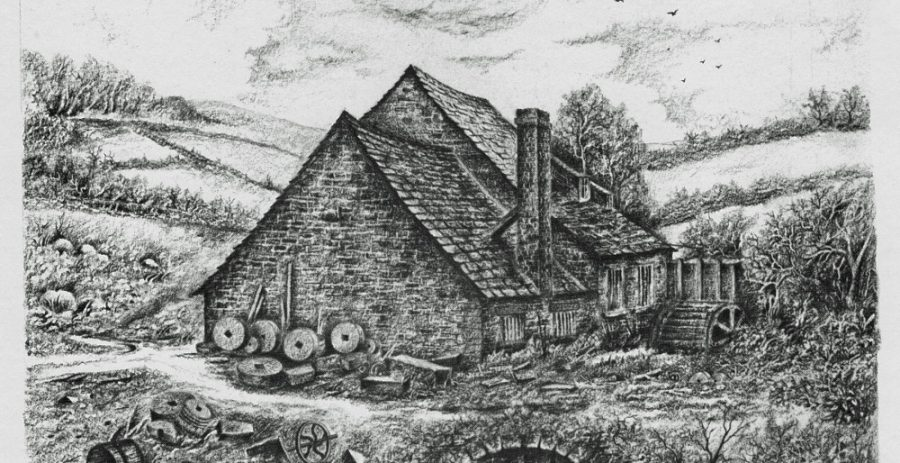 Drawing of Swallow Wheel in about 1860, by Mr A. Chattle. Courtesy of M. Chattle.