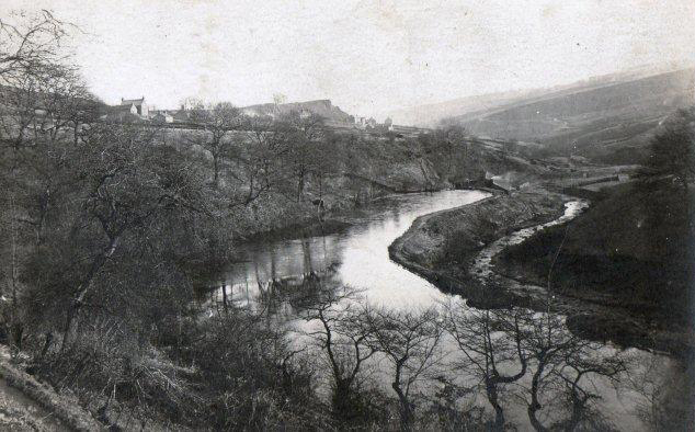 Wolf Wheel mill dam, with buildings at the far end and River Rivelin below (to the right) (c. 1900). From the KK collection.
